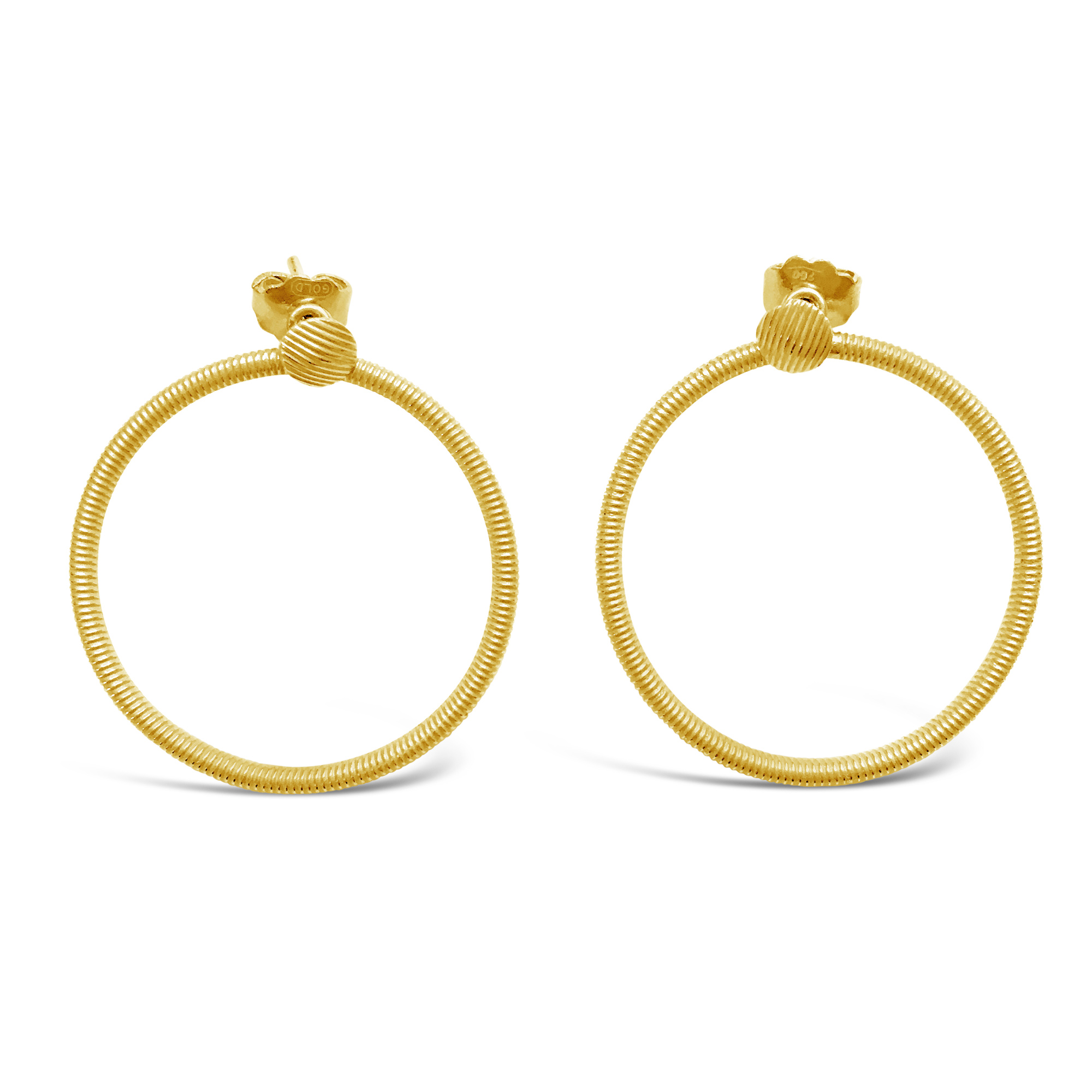 Large yellow gold ribbed hoop earrings