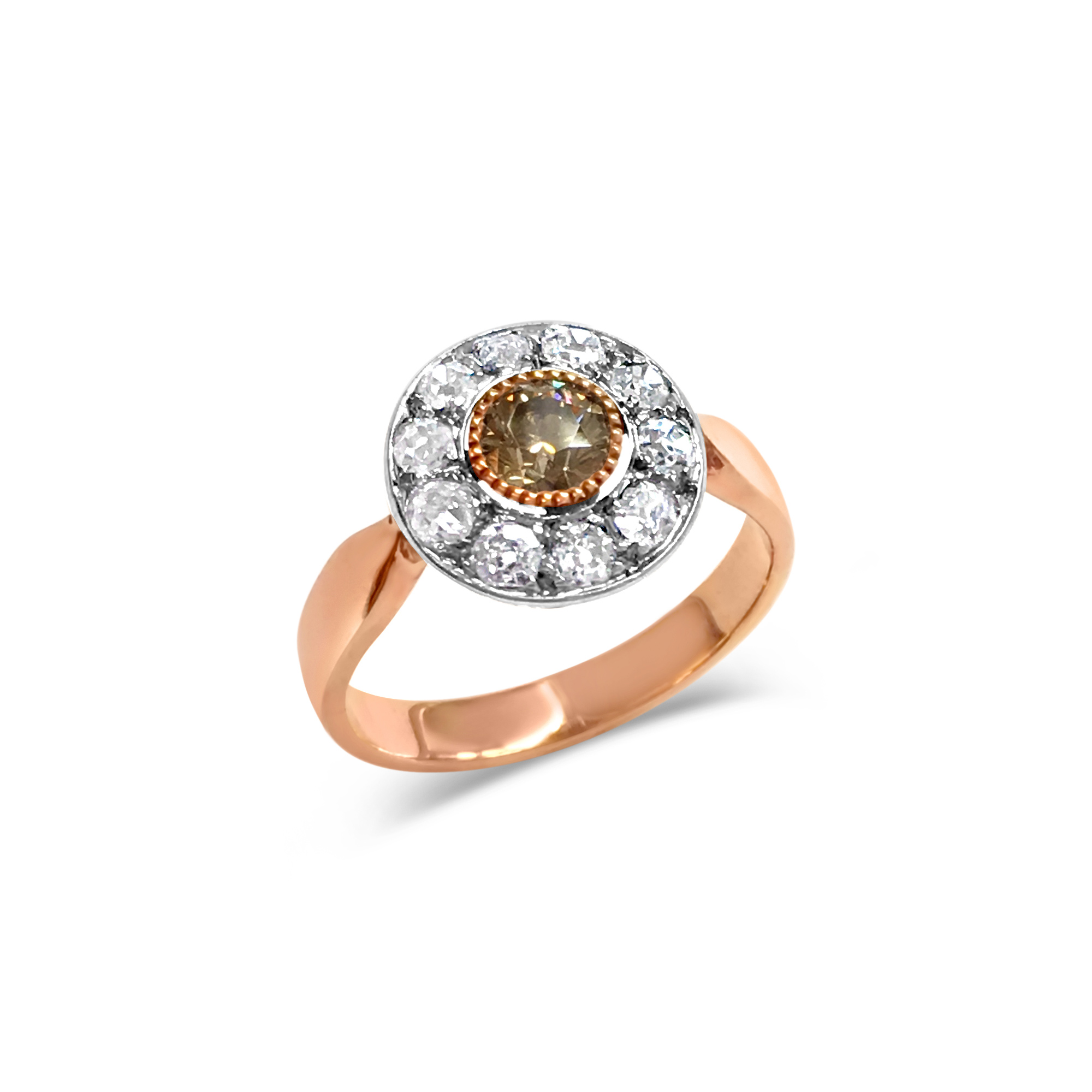 Antique Rose Gold Diamond Cluster Ring