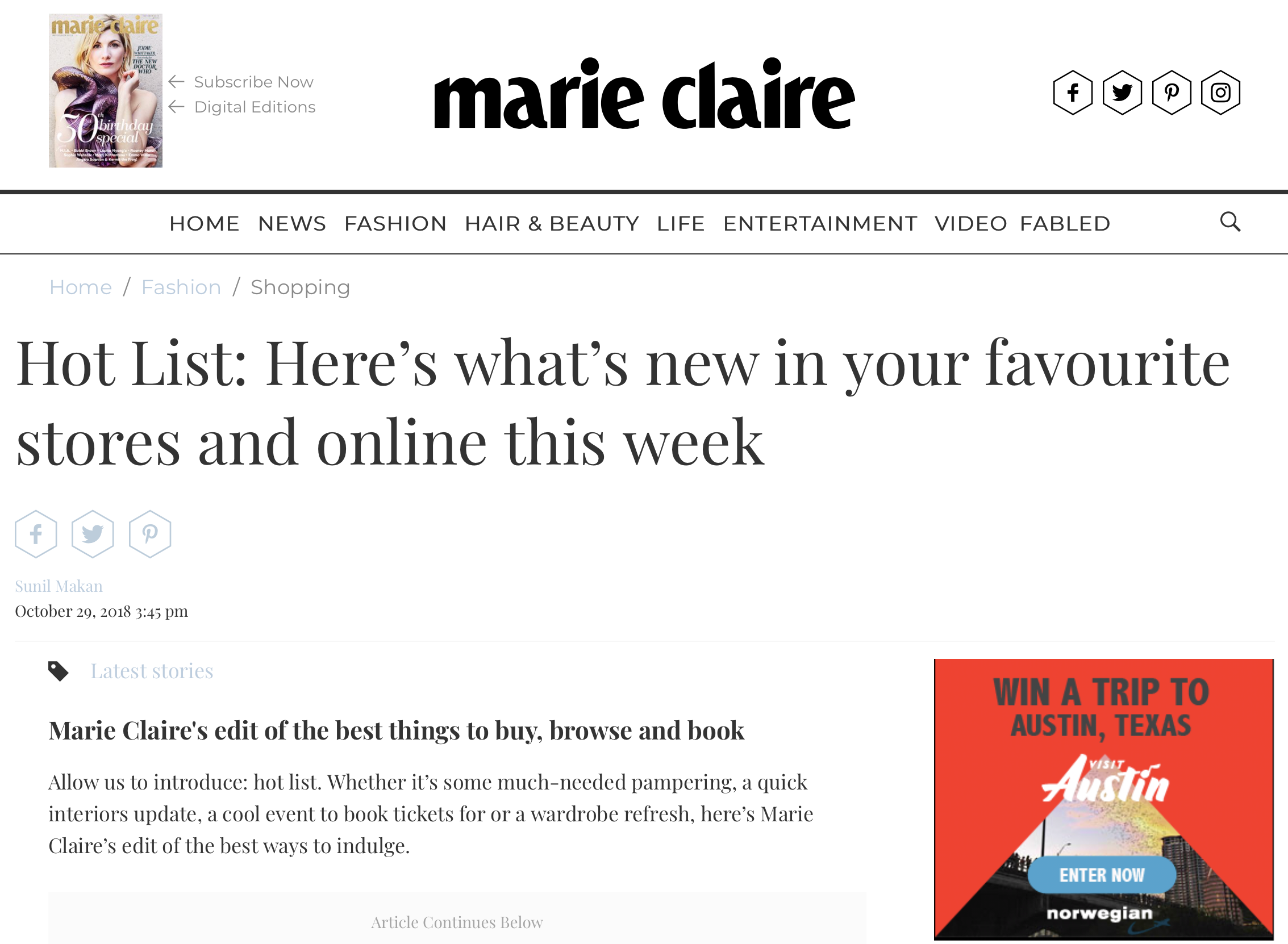 Marie Claire Online article