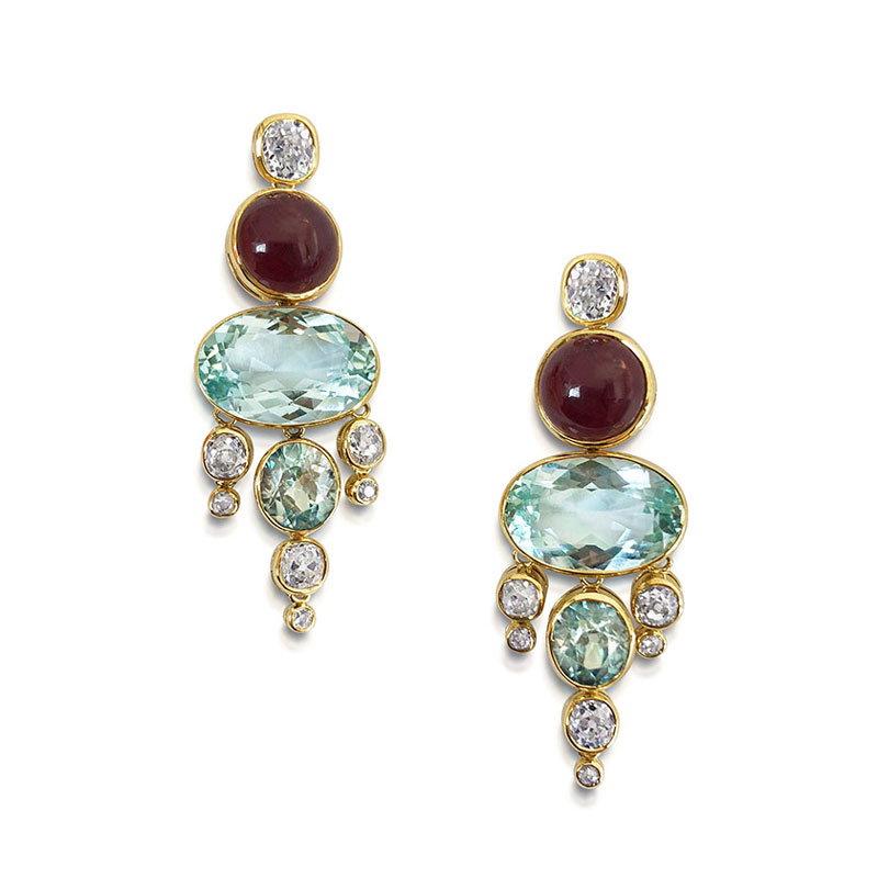 Diamond-garnet-and-aquamarine-drop-earrings