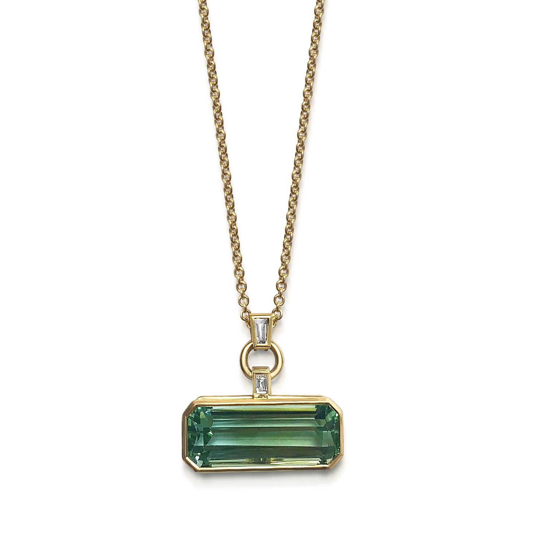 Bespoke rectangular-shaped octagonal two-coloured aquamarine and diamond pendant mounted in 18ct gold pendant.