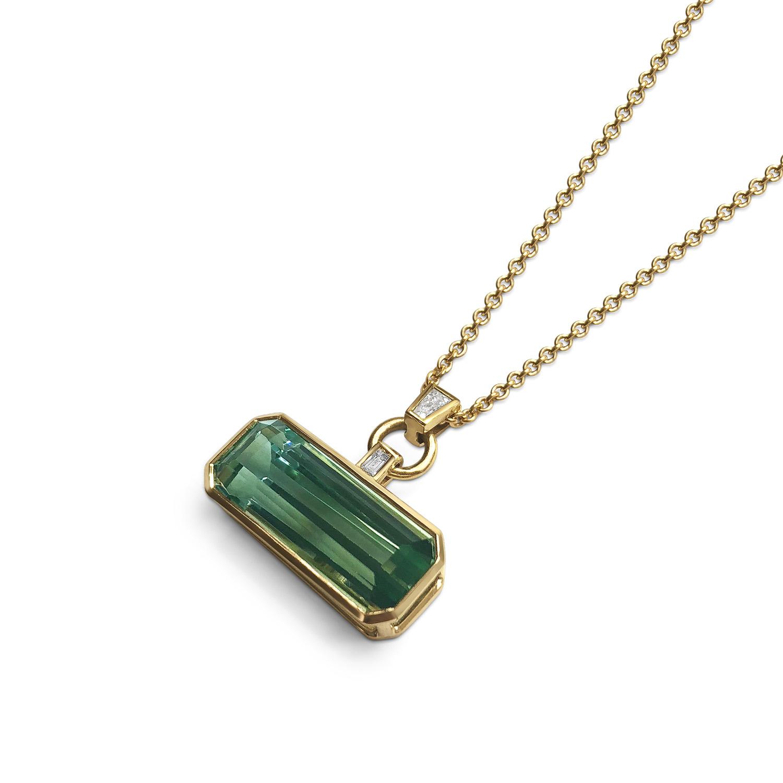 Bespoke rectangular-shaped octagonal two-coloured aquamarine and diamond pendant mounted in 18ct gold pendant