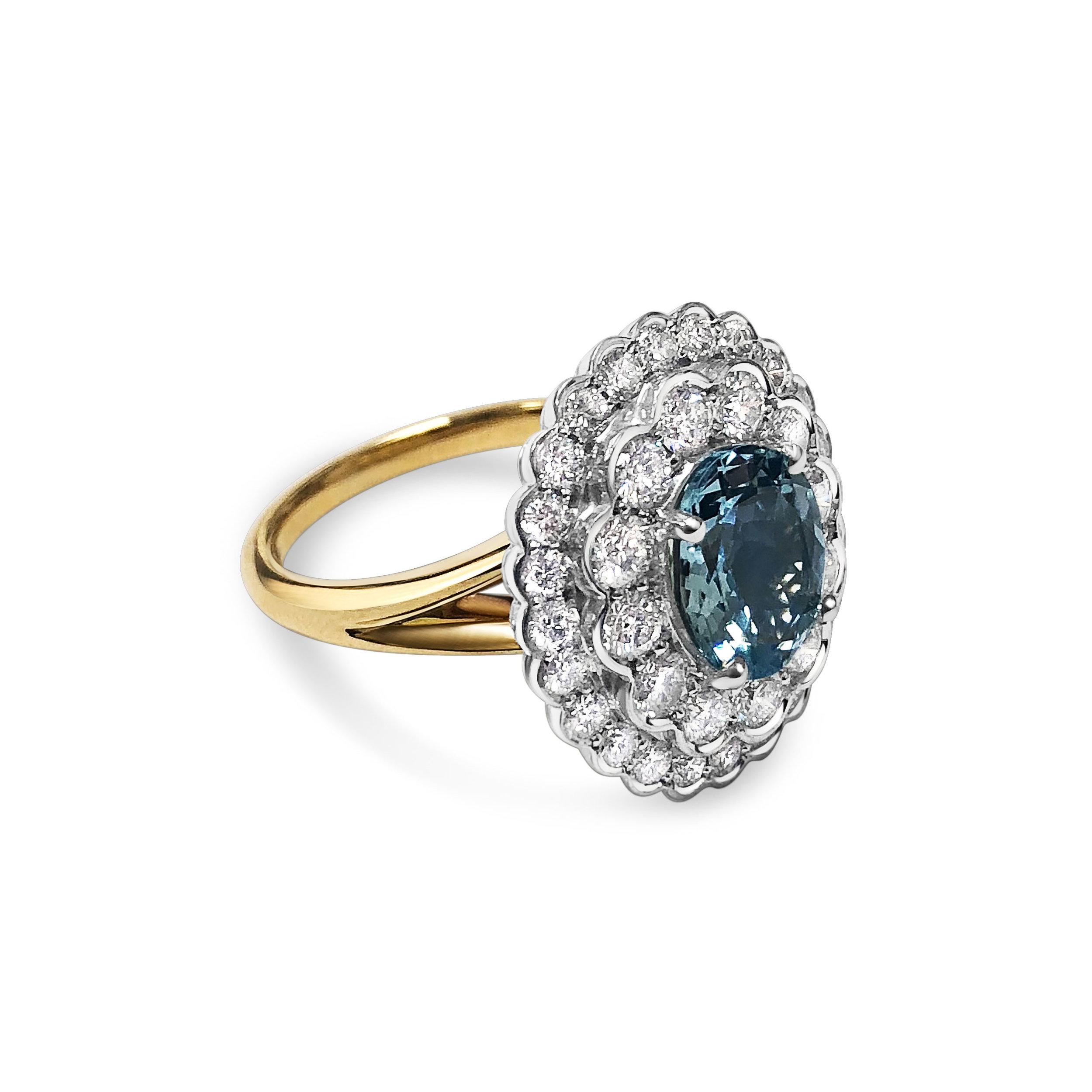 Aquamarine & diamond cluster ring side
