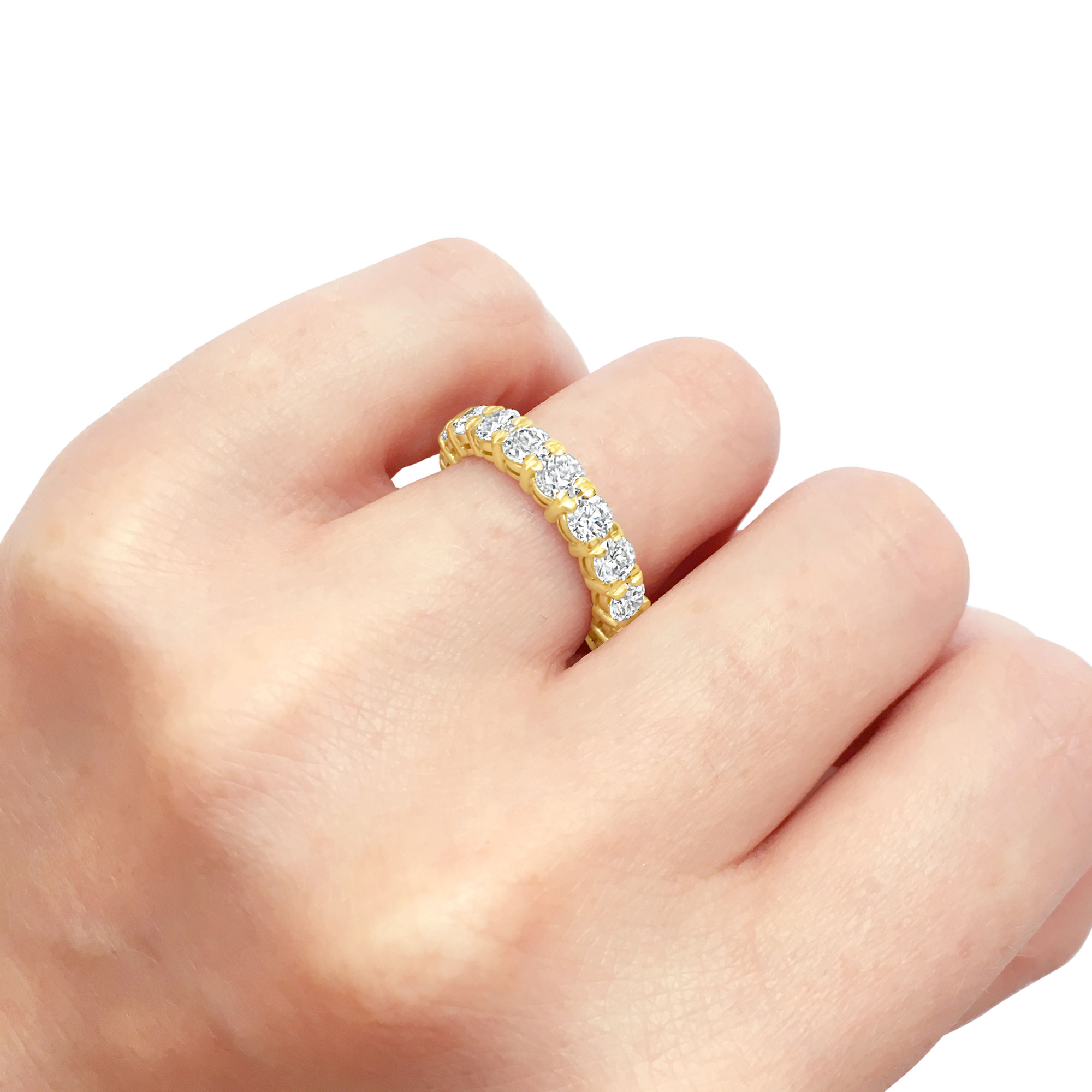 Diamond eternity ring with engagement ring