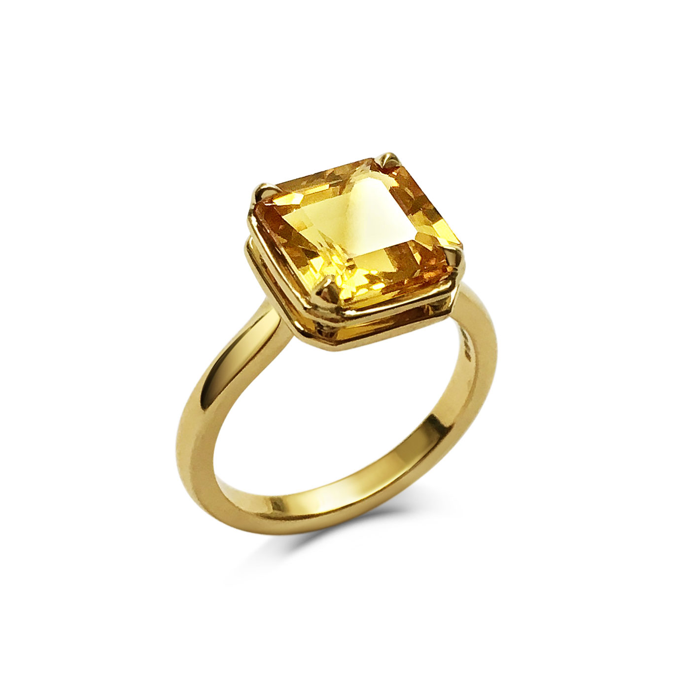 Square-cut yellow sapphire ring mounted in 18ct yellow gold
