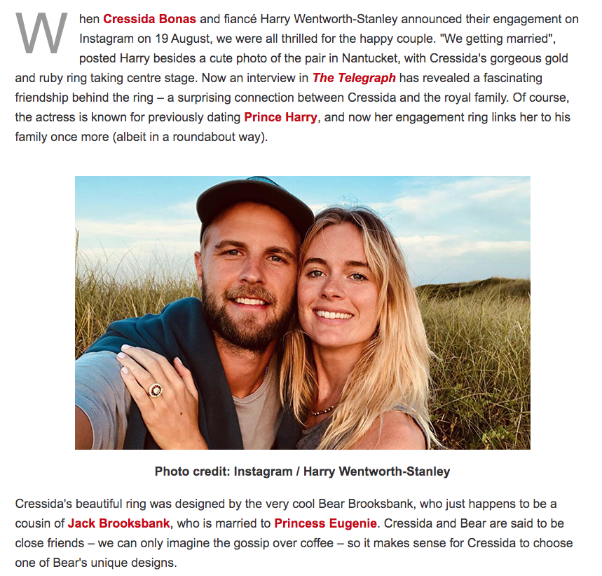 Bear Brooksbank engagement ring for Cressida Bonas