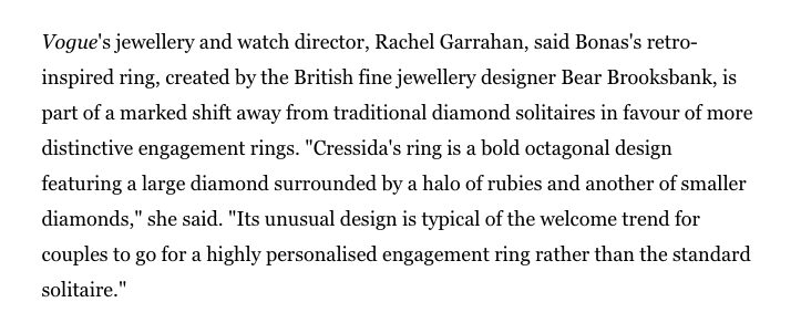 Cressida Bonas Engagement Ring Designer Bear Brooksbank octagonal design