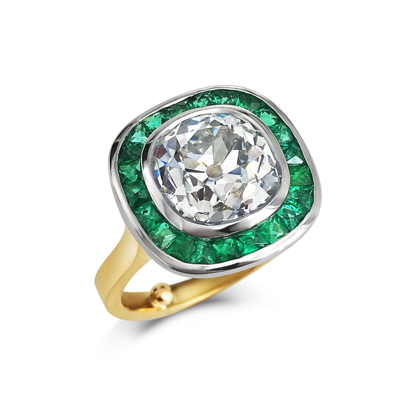 Diamond and Emerald Target Ring