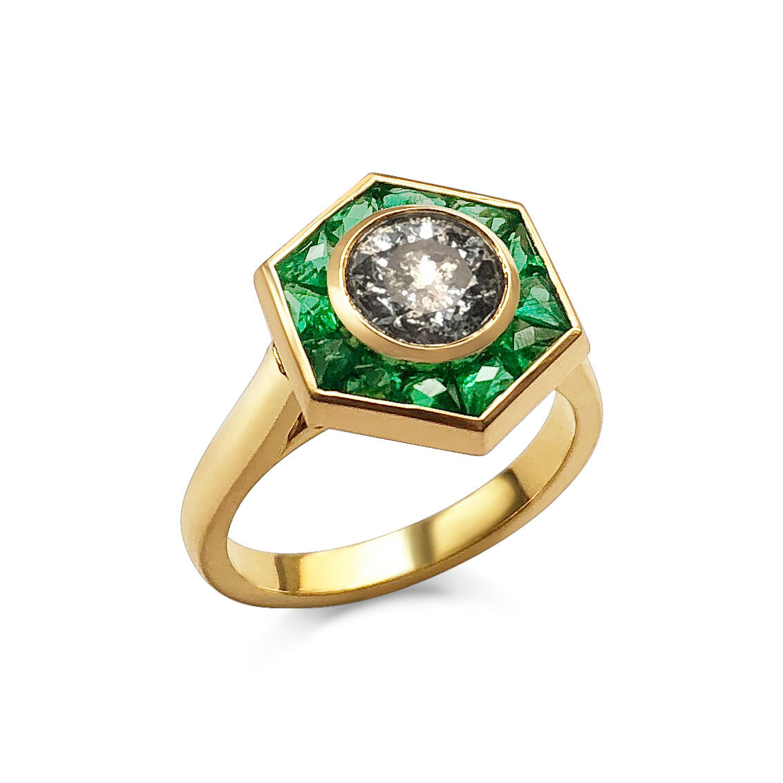 Salt & Pepper Diamond and french-cut emerald ring mounted in 18ct yellow gold