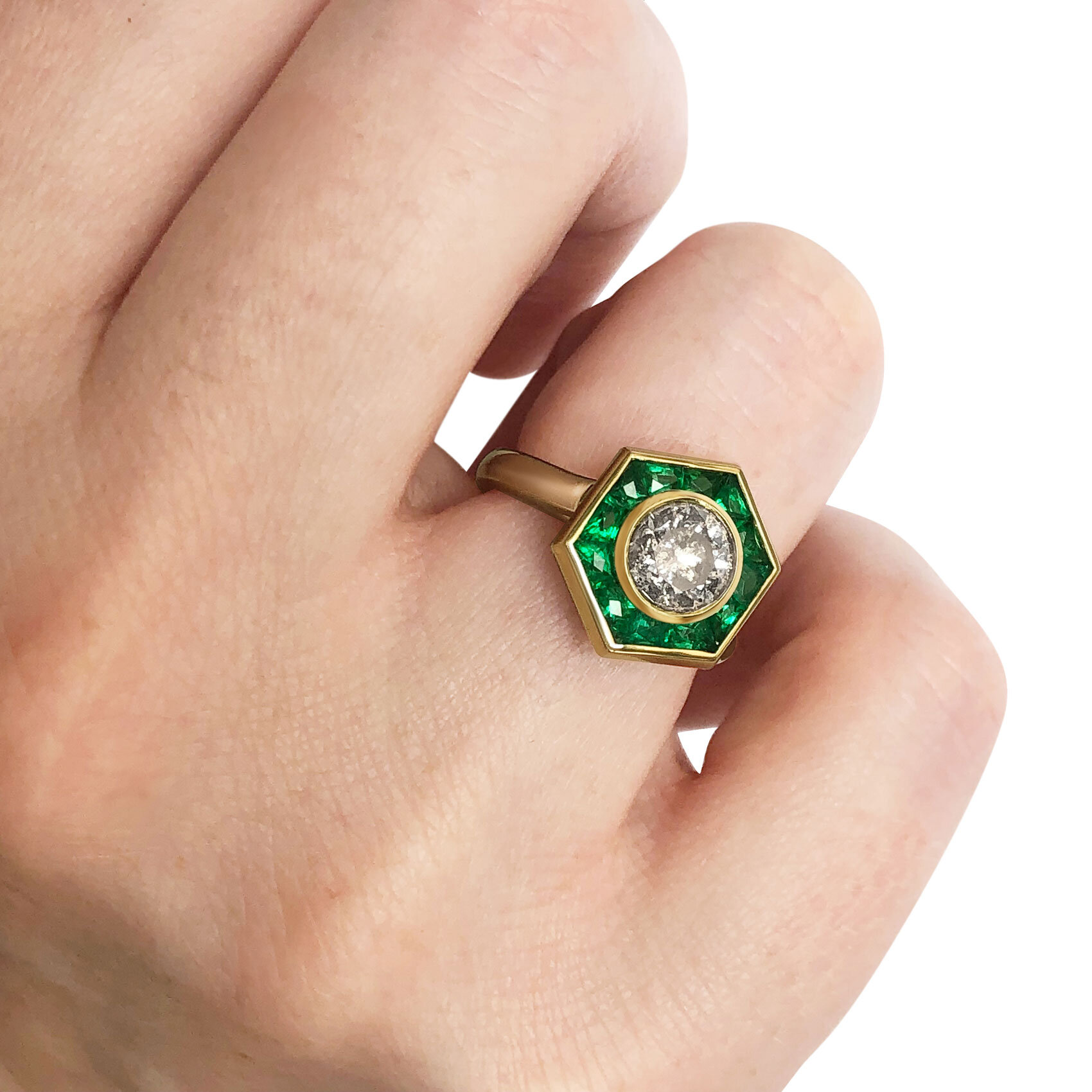 Salt & Pepper Diamond and french-cut emerald ring mounted in 18ct yellow gold.
