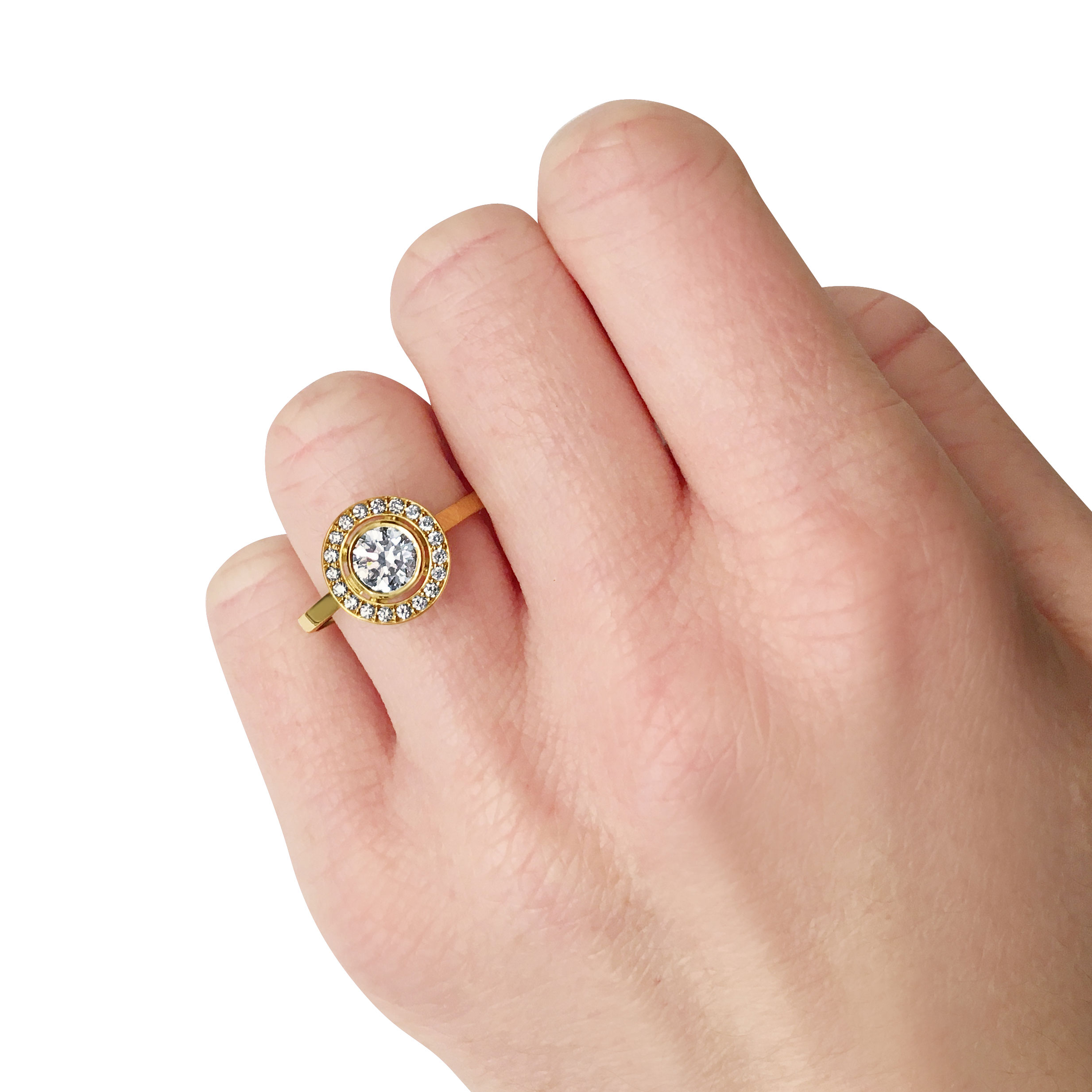 Round-cut diamond with diamond halo engagement ring, mounted in 18ct yellow gold.