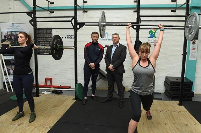 Great to get a warm welcomed visit from one of our funders last night #teessidephilanthropicsociety #teessidephilanthropic @halliecouture @lesleyannecorner being our Weightlifing models last night. Weights don't make you bulky! Come along and try one of our club sessions Tuesdays, Wednesdays and Fridays 6.15-8.15pm and sundays 3-5pm #britishweightlifting #sportengland #weightlifting #crossfitulysses #middlesbroughfitness #middlesbrough #weightlossmiddlesbrough #middlesbroughweightloss #teessideweightlifting @crossfitulysses