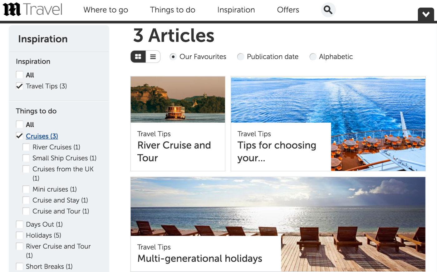 Destination pages with article content