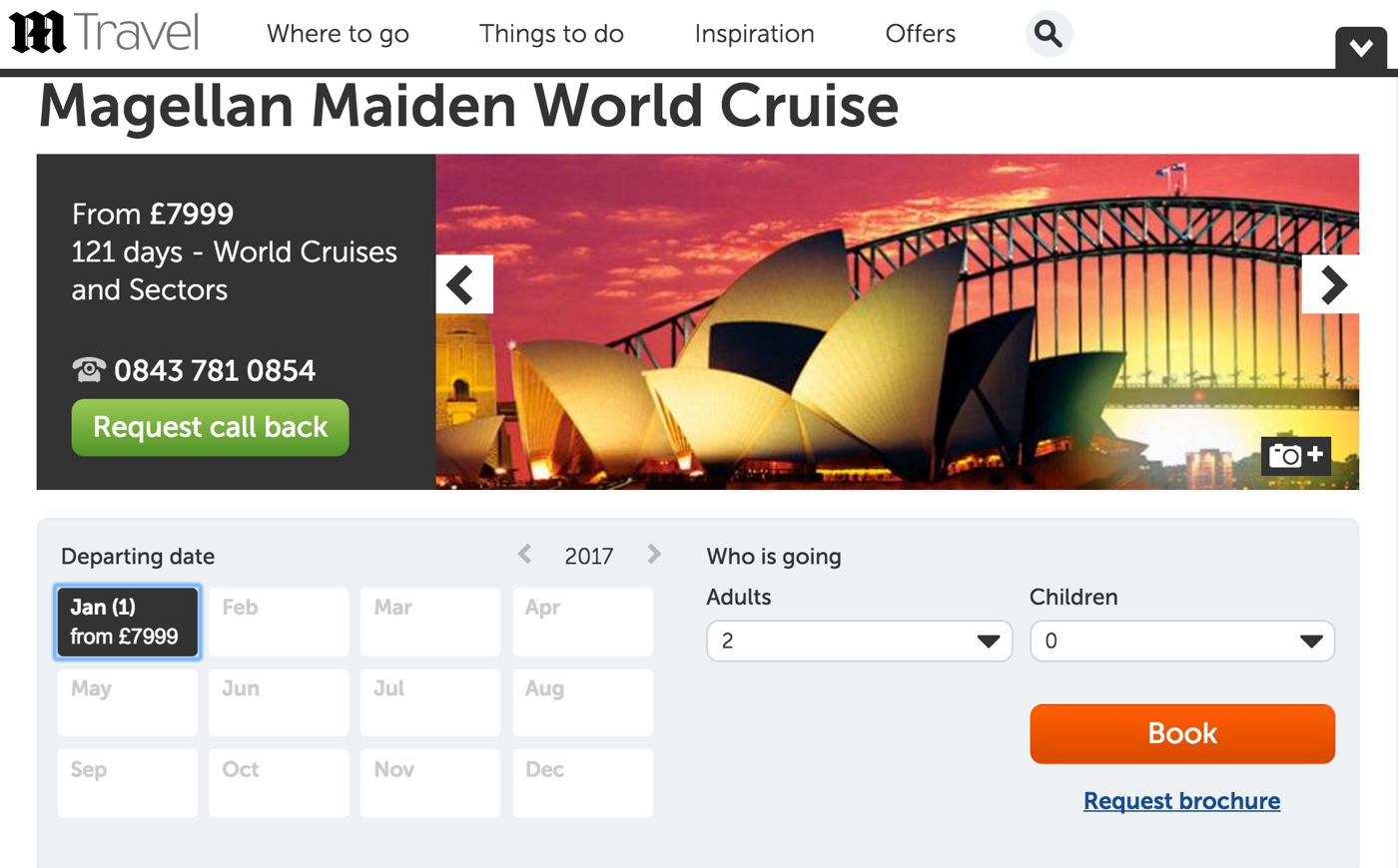Product details with customised booking flow