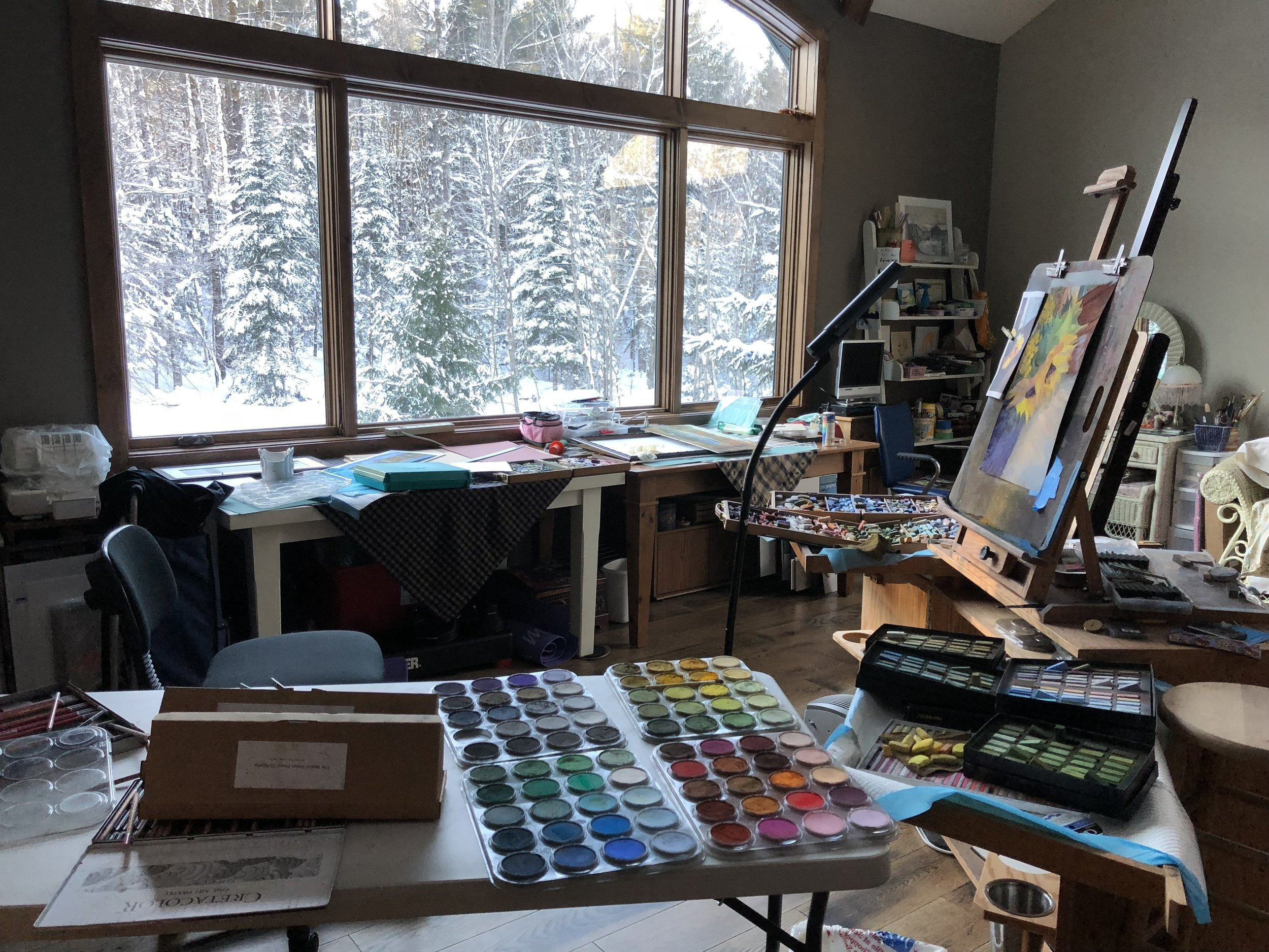 Working in the studio on a snowy January day.