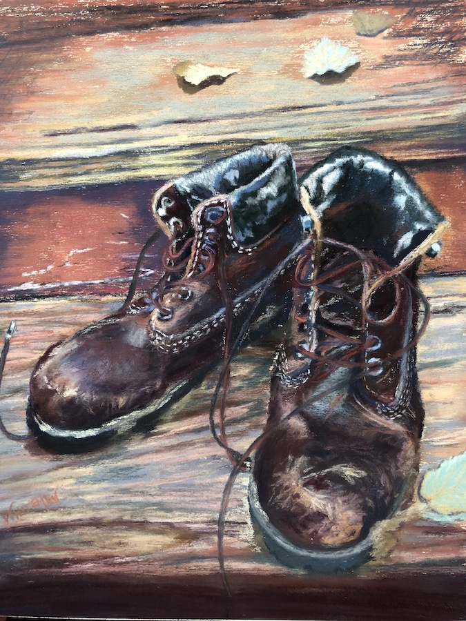 "My painting, ""The Old Boots"" for James Bourey's poem, ""Adirondack Fifth Season."""