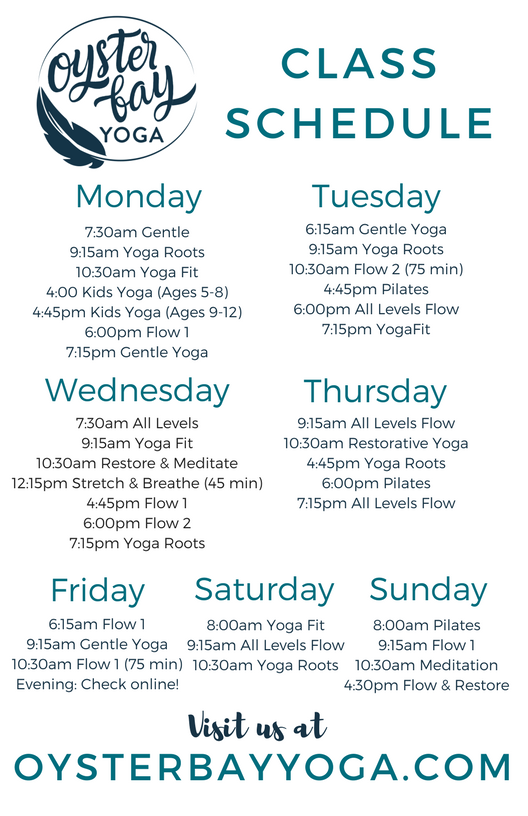 oyster bay yoga schedule