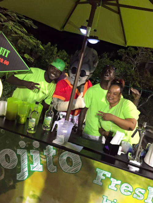 Mr. Mojito Travis behind the Mojito stand at the Turks and caicos island fish fry!
