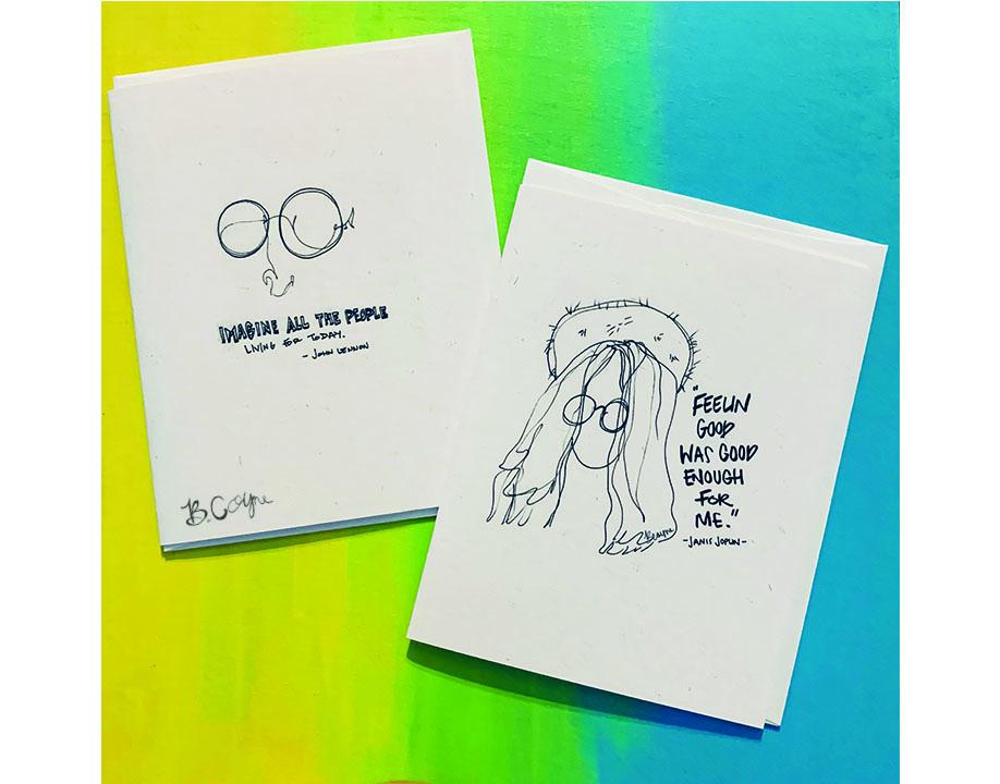 'John Lennon & Janis Joplin Line Designs' Greeting Cards