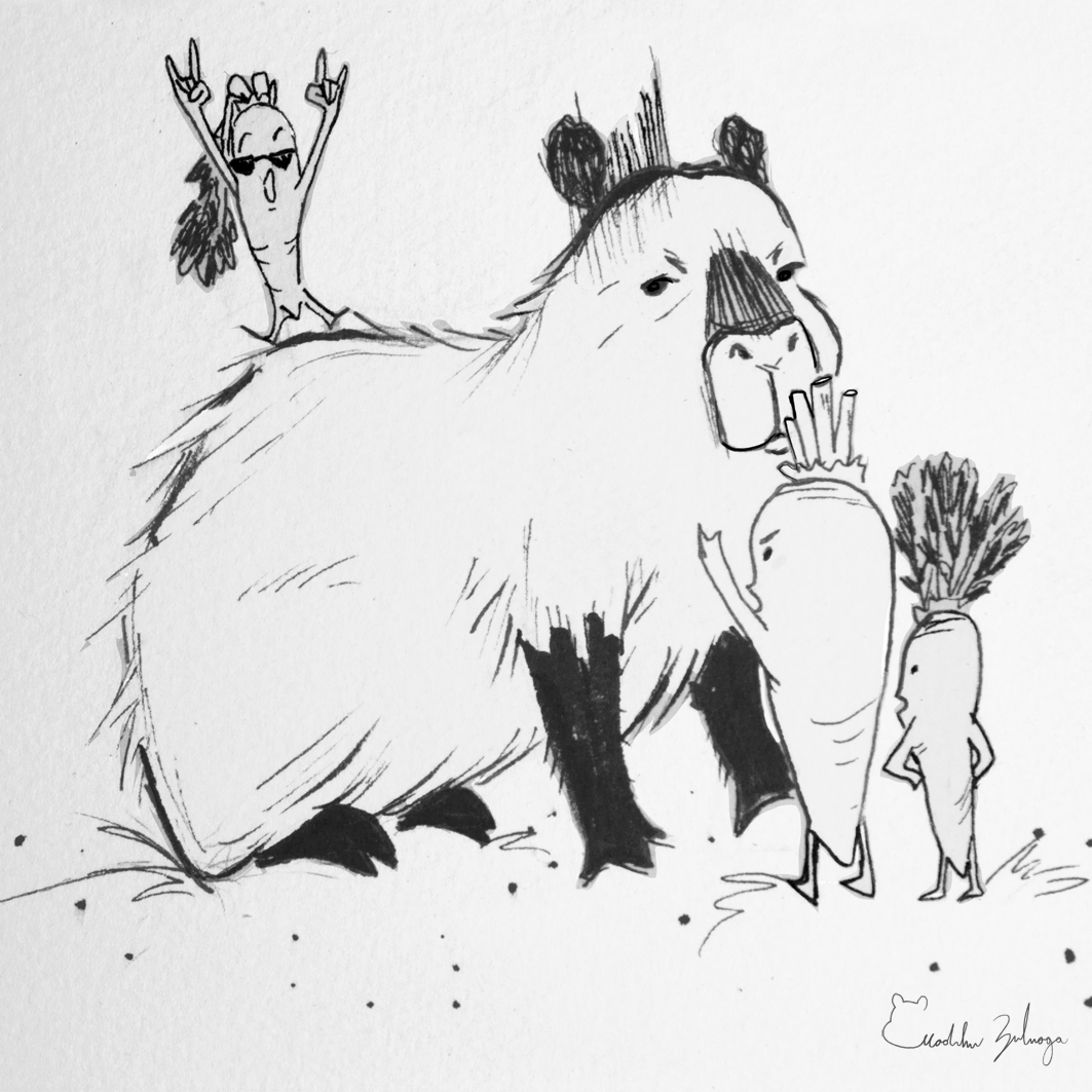 madeline zuluaga inktober day 2 capybara and its carrot family.png