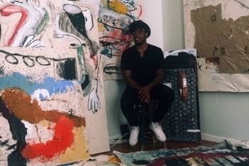 East New York Painter Patrick Eugene Tackles Gentrification In The Abstract (Gothamist, Sept. '16) - (Gothamist, Sept. '16)