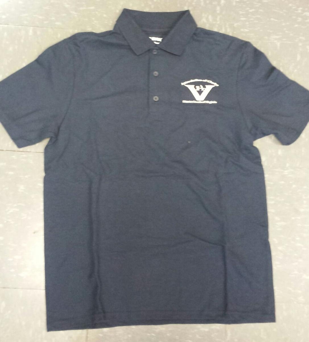 SALE! Blue Polo Shirt with Embroidered Logo $3.00    Available in very limited quantities - sizes Small & 2XL