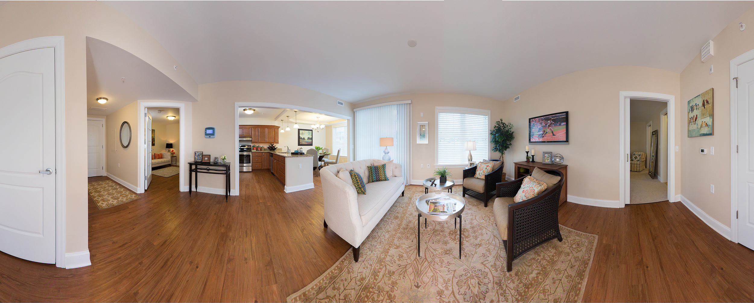 360 degree panoramic photo of living room by Craig Anderson Photography Inc