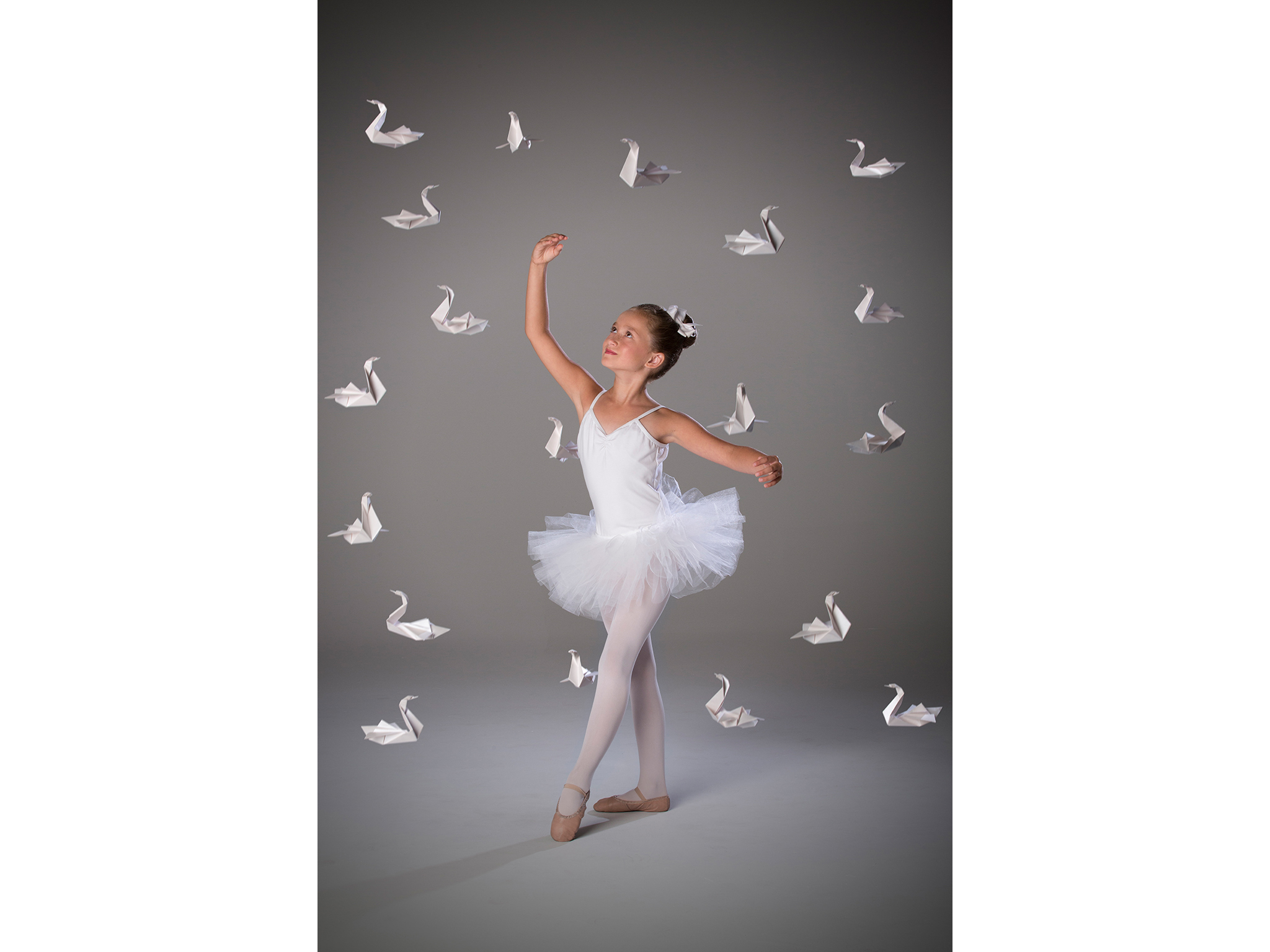 Ballet girl in white with swans by photographer Craig Anderson