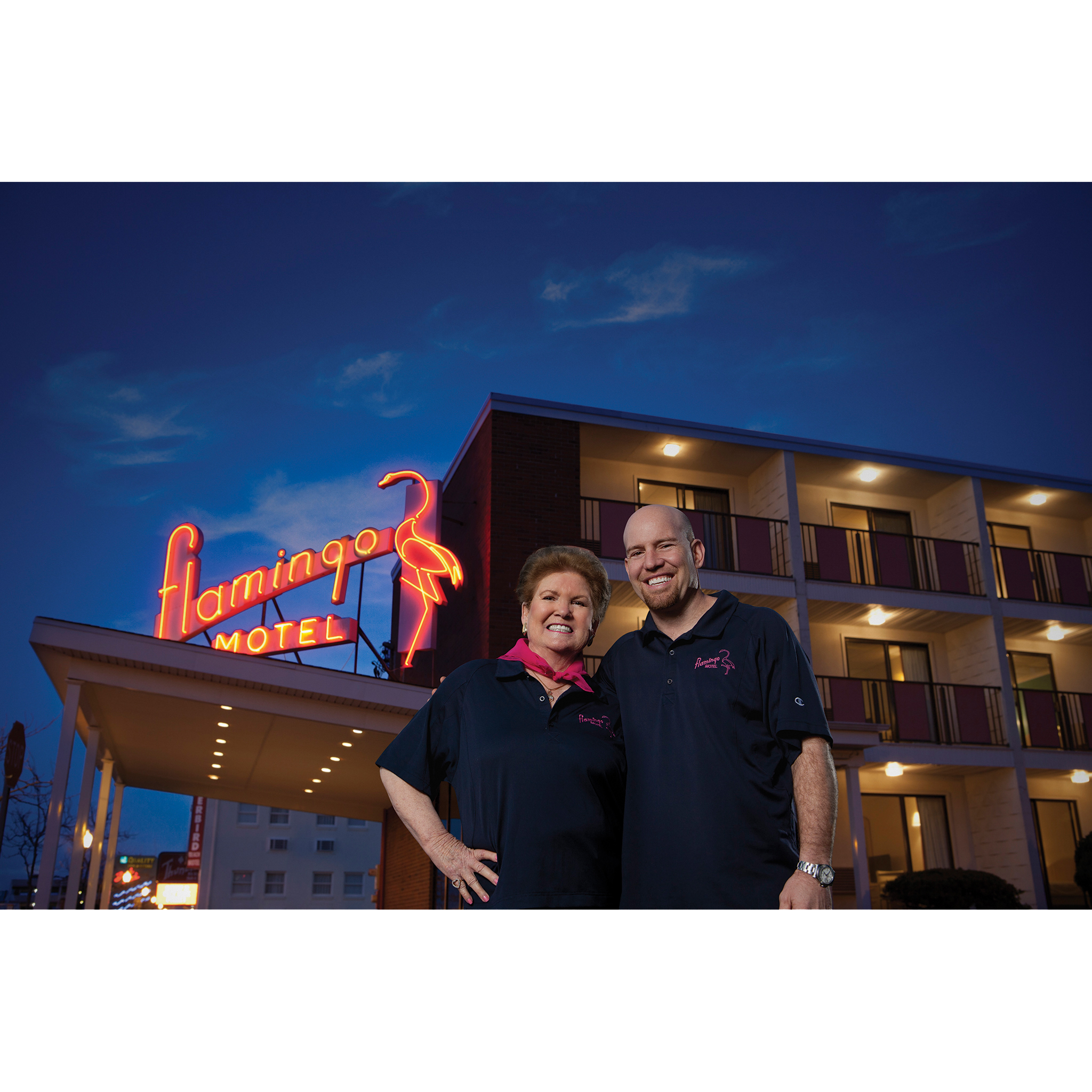 Owners of Flamingo Motel Ocean City MD for bank advertising