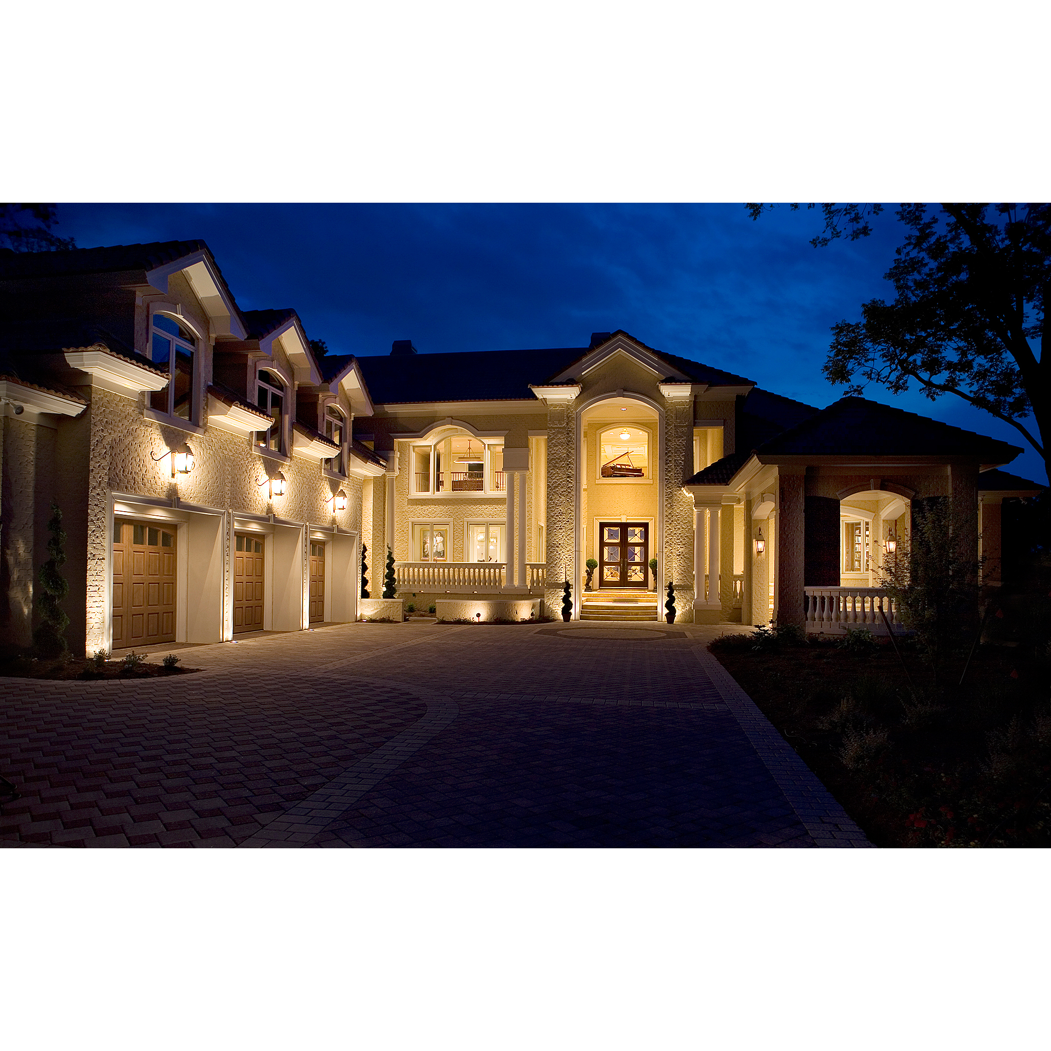 Architecture photo of house at night with lights in Virginia Beach Virginia