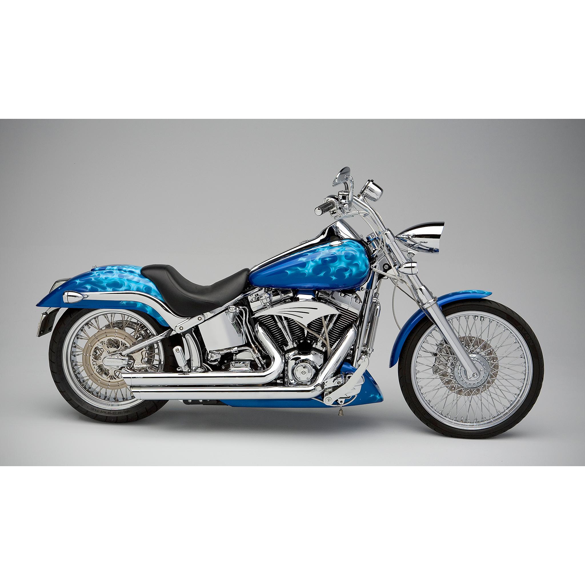 Blue custom motorcycle photographed in studio