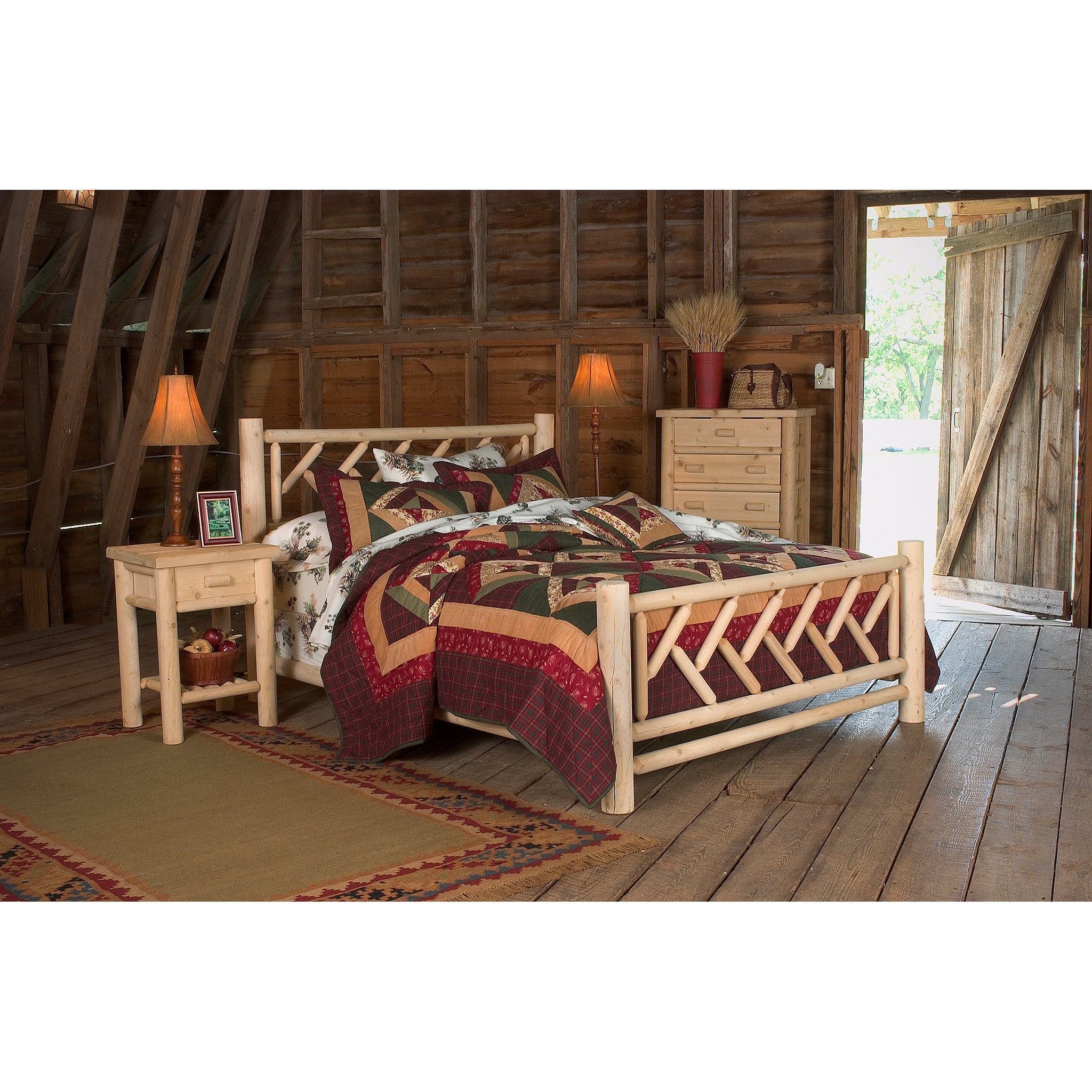 Product photograph of wooden bedframe and bedroom furniture in a barn shot for catalog and e-commerce