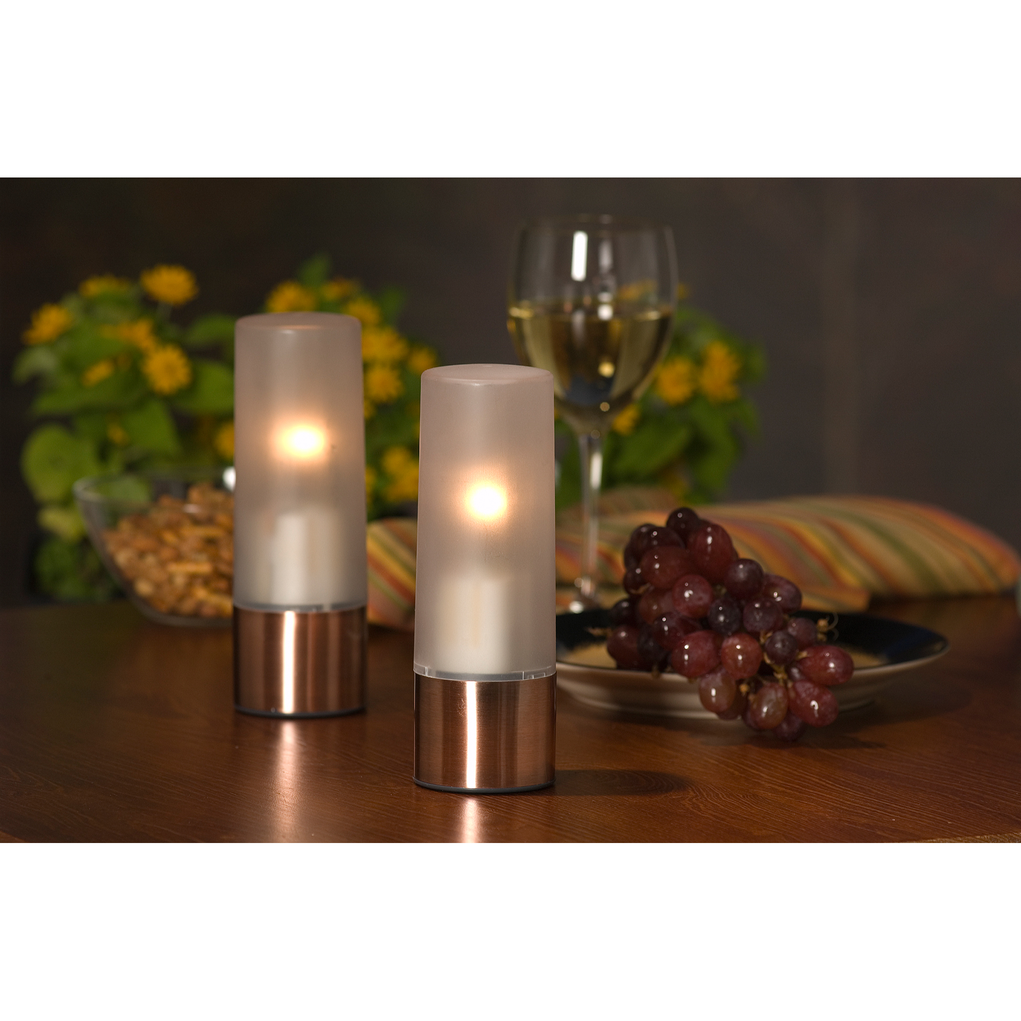 Product photo of electric candles wine and grapes