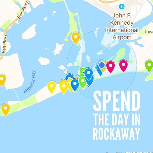 A cloudy start to the day means smaller crowds on the NYCferry and subway to Rockaway. Check out the @rockawaybeachclub website for an interactive map of places you should visit! We out here! #spendthedayinrockaway #rockawaybeach @nycferry
