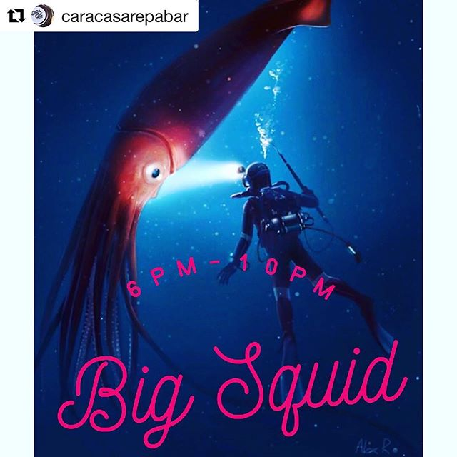 #Repost @caracasarepabar ・・・ Today is Locals Fridays at #caracasrockaway with Maestro Squid and it's giant, talented, group of musicians. Music starts at 6pm, kitchen closes at 9pm, music ends at 10pm #happysummer