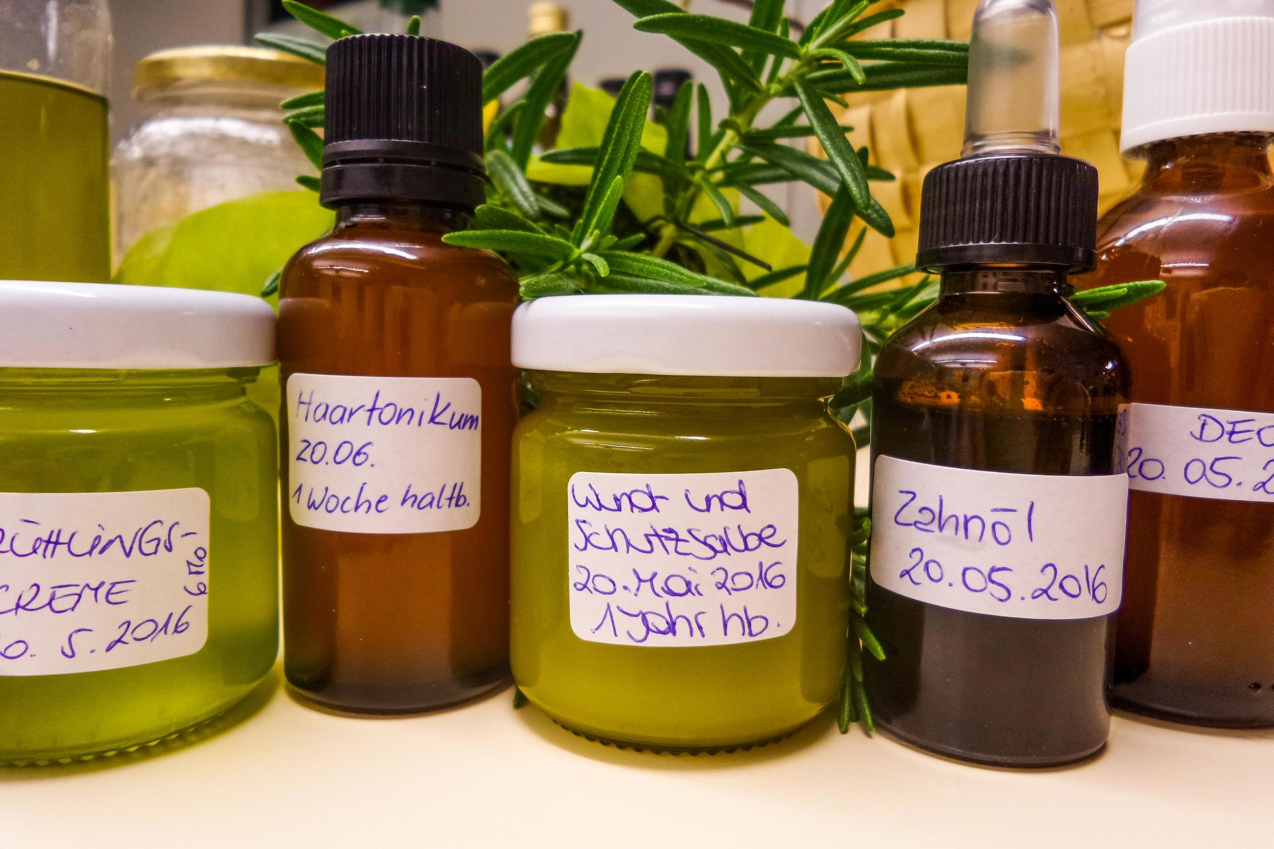 Pflegeprodukte beim Grüne Kosmetikkurs