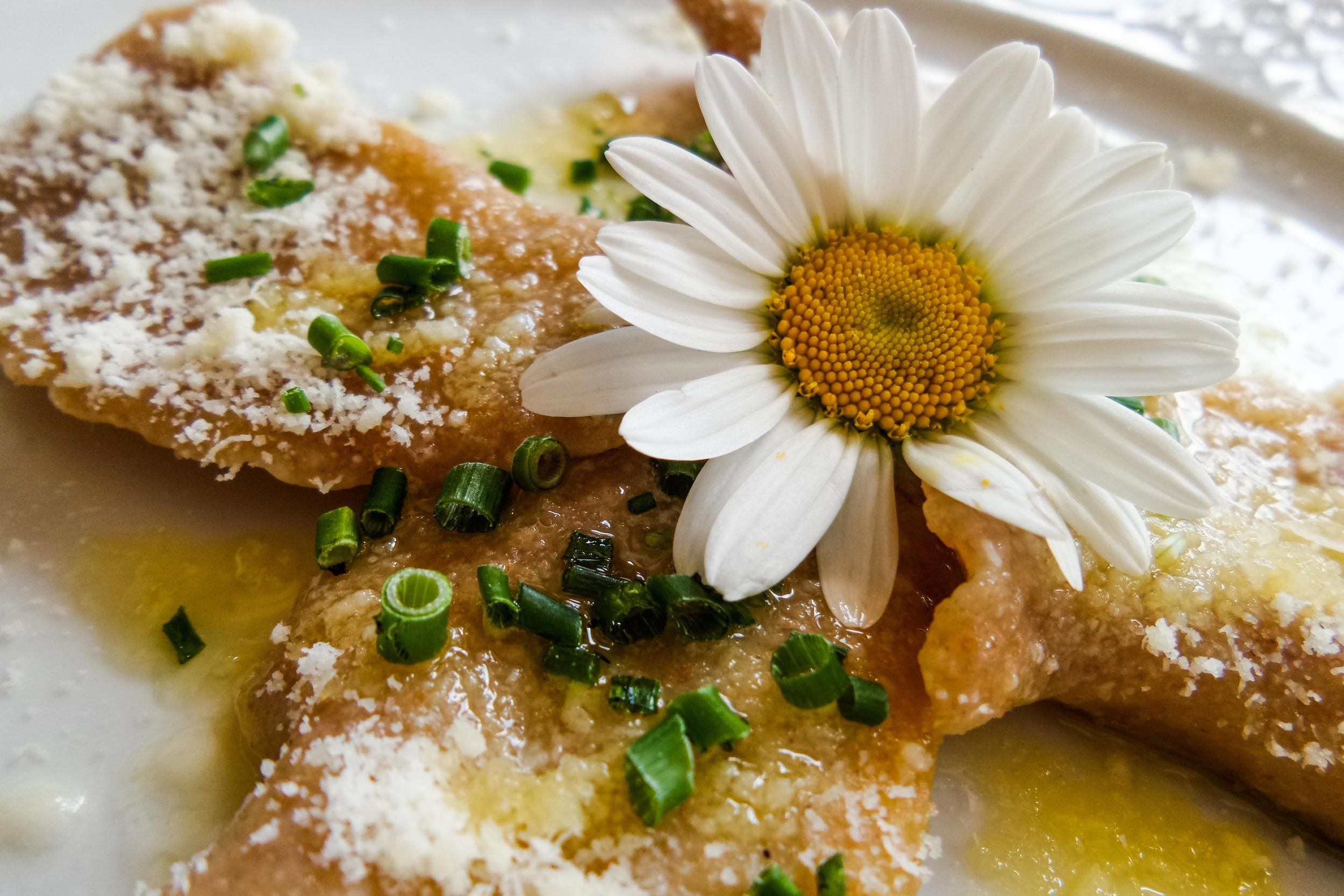 Vollkornteigtaschen mit Ricotta-Kräuterfüllung