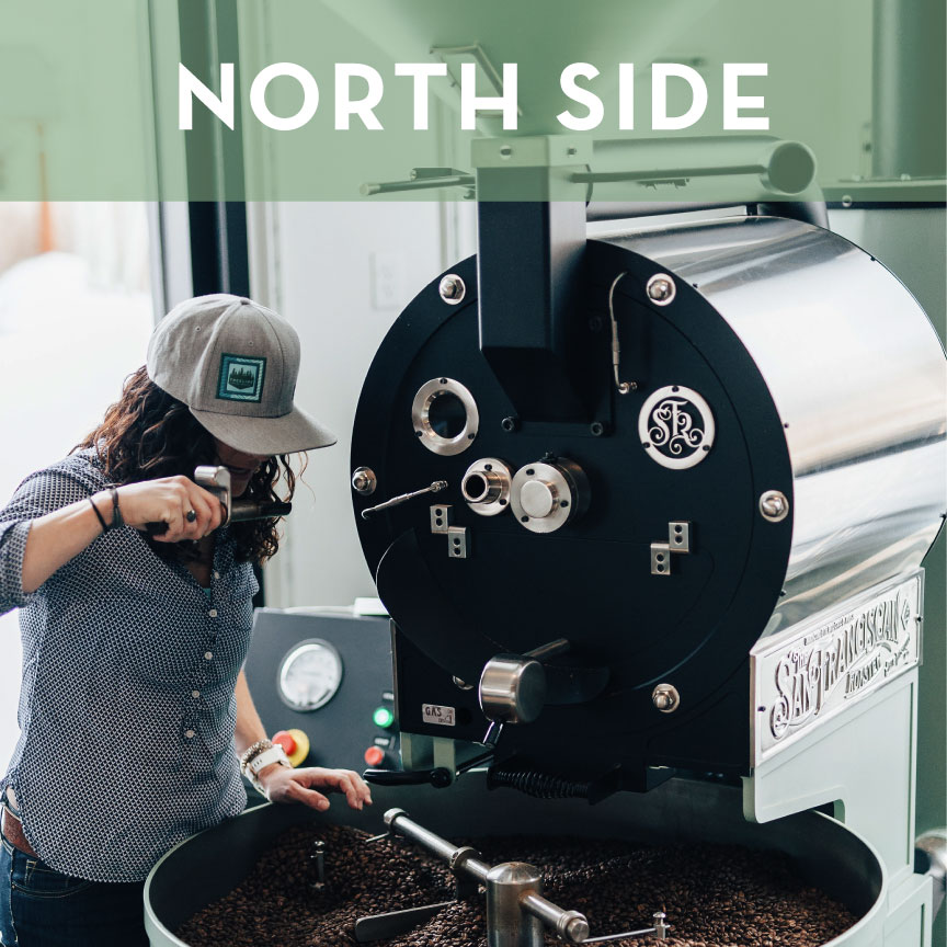 Our Roasting Room is located at 624 N Wallace at the corner of Cottonwood.