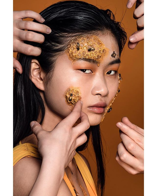 The inspiration for this shoot began with a texture—the drip of honey down a human face, the oft repulsive matrix of honeycomb. Bees were a notable afterthought. As I conceptualized, I also began to think of the ontology of honeybees, their invaluable contribution to our planet, and, of course, their endangered state. . About 1/3 of all food we eat is a direct result of pollination. Bees maintain a delicate homeostatic balance in the environment, but, like many other precious human-influenced environmental factors, are swiftly heading towards endangerment. Keeping bees doesn't necessarily save the environment, but saving them does.  Bees worldwide are threatened by CCD, or colony collapse disorder, which is when entire hives die due to unstable environmental conditions. This is brought on by a number of factors, most prominently heavy pesticide usage (hello, Monsanto) and climate change. . How do you fix this? Start battling. Change at the individual level is indispensable for change at the global level. Support local farmers and buy local food. Use natural cleaning fluids. Limit your carbon footprint as much as you're able to. Change doesn't have to happen overnight—every tiny move you make, even recycling one little bottle, has the power to prevent the total degradation of our planet. . This shoot didn't start out as an environmental concept, but it evolved into one, which I think is an important and necessary move. I'm super passionate about environmental activism and looking forward to more projects that underscore this. Therefore, I'll be doing a series this summer highlighting important environmental issues....but making it fashion, of course. . Thanks for your support as always, and enjoy the imagery. -IE . Model: @huxirong Concept, art direction, photography: @isabelepstein  Makeup & spfx: @stephaniedellairabeauty  Assistants: @brandon.m.daza @2zocuts  Studio: @monaliza.studios  #portraits #portrait #portraitpage #portraitmood #climatechangeisreal #retouchin