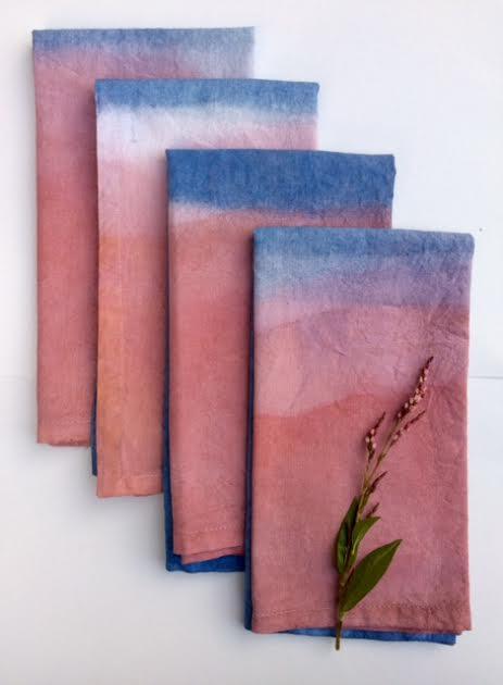 Madder and Indigo dyed linen napkins