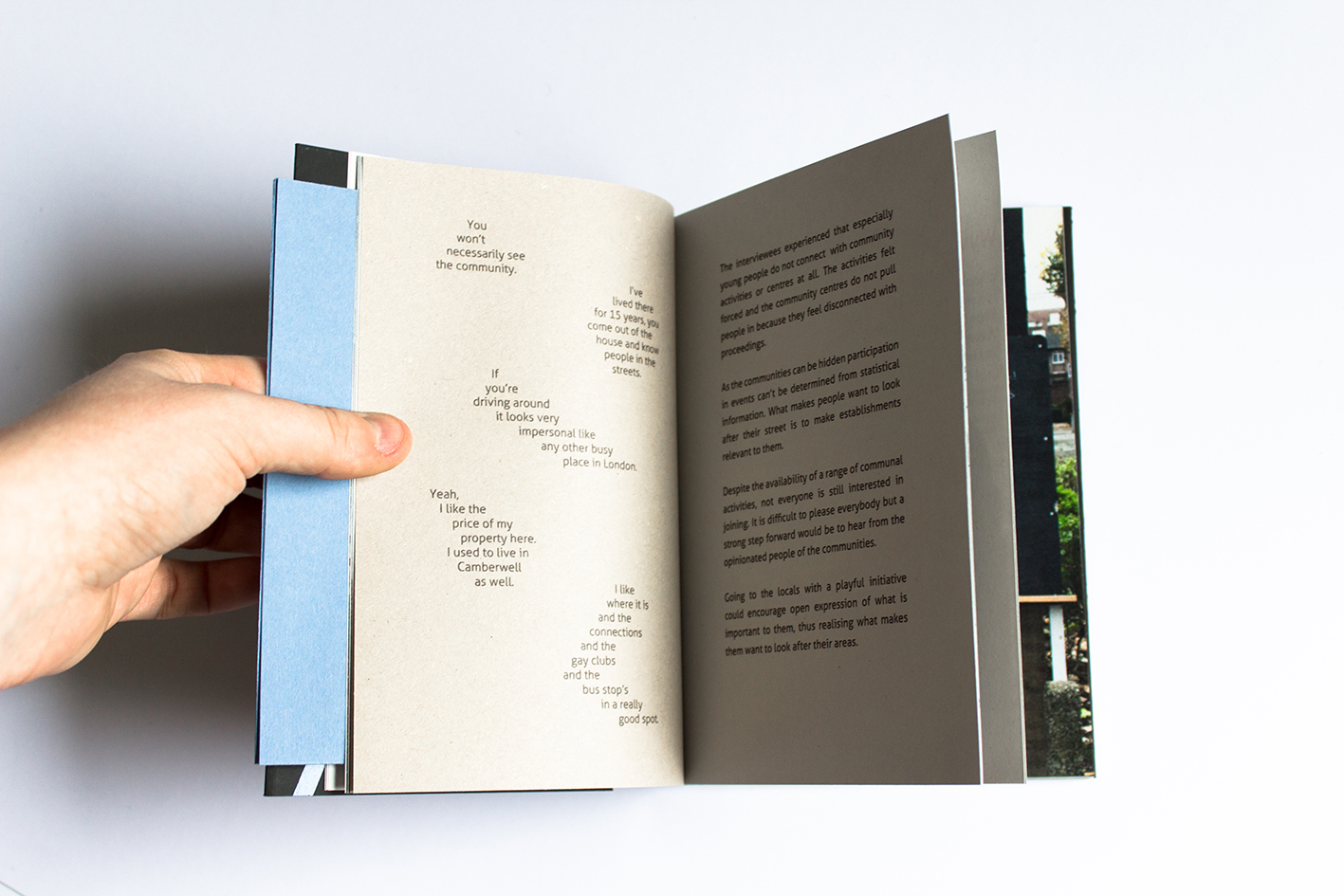 The book features locals' comments and interviews about their community.