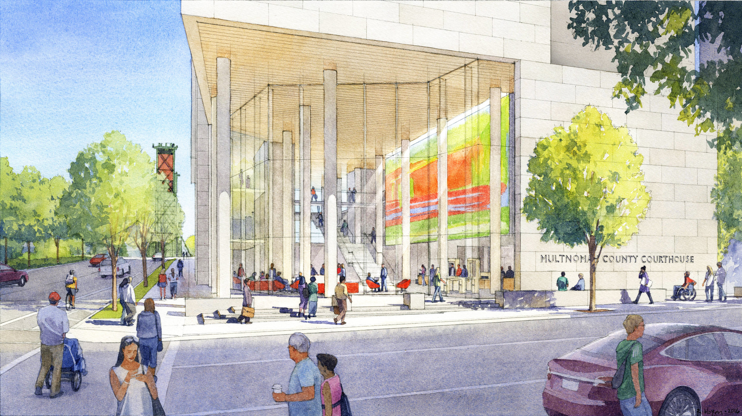 Artist rendering of the new courthouse.