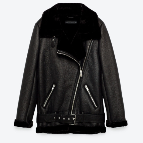 Get a head start on the oversize trend of next season with this longer biker style. Shopping at Zara can sometimes cause a lack of judgement but this one looks chic and is super warm.  Longer biker jacket, $169,  Zara