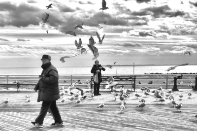 About 'Coney Island Winter': 'On an extremely cold day, I decided I'd really like to go to Coney Island and see it when it's all deserted and grey, nobody there, and get the feel of it being desolate. So my husband and I took the 45-minute subway ride out to Coney Island, and that's where I got the shot.' (© Sandra Jetton 2017)