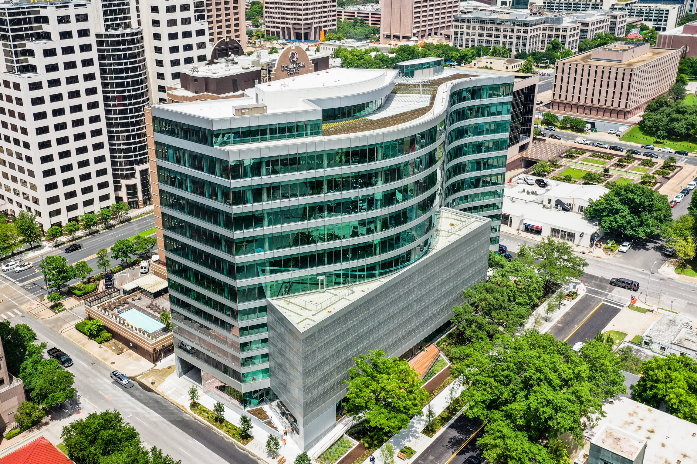 Aerial Perspective View of the SXSW Center.
