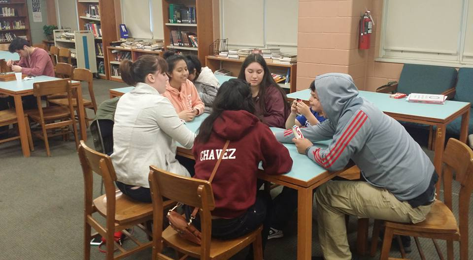 Students socializing and playing a game at Richards Career Academy H.S.