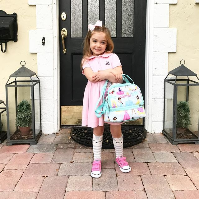 "So proud of my sweet girl heading into PK4 with a big smile. Can't wait to see all the fun and new things this school year brings. Also hoping I won't have to repeat what I never thought I'd have to say, ""Adeline, please don't lick the doorknob, it's gross""....#mysweetadelinegirl"