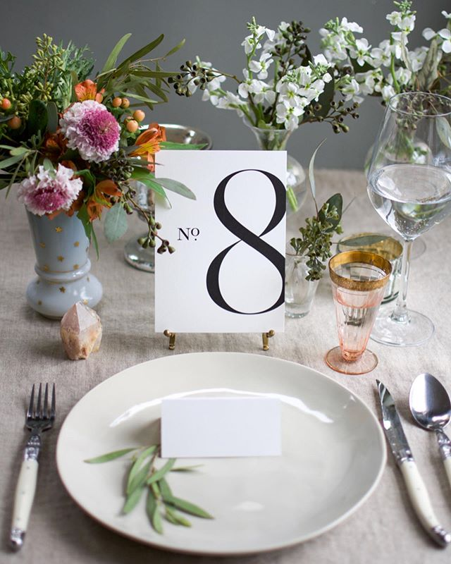 "Working with brands at all stages in their journey is so fun, but sometimes I get the amazing opportunity to help create their look at the very beginning. I recently did a shoot for a new business @weekendpaper.co (whose slogan is ""Bespoke inspired papers without the wait."") where I styled and photographed their stunning new line of table numbers. I created a makeshift set in a friend's studio and set to work right then and there. I'm sharing  images of just a few styles from this new line as well as a few set photos to show you what it looked like from my point of view. I so look forward to shooting their dreamy place cards next so stay tuned! (I also incorporated two of them into my pretty mood board featured in this month's @brides magazine which is still on newsstands!) ✨ #VerryRobinStyling #PaperEverything"