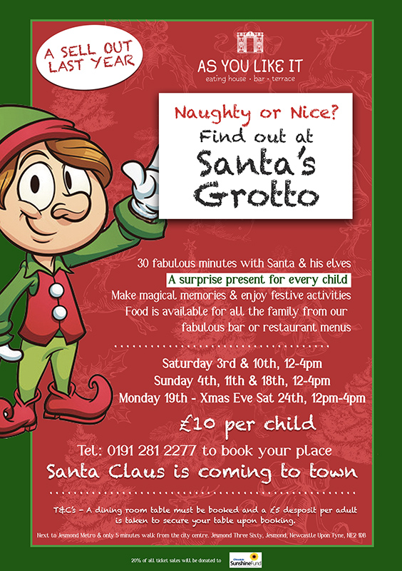 FAMILY CHRISTMAS EVENTS IN THE NORTH EAST Newcastle Christmas Events. Family festive events. Eating out over Christmas. As You Like it Jesmond Grotto