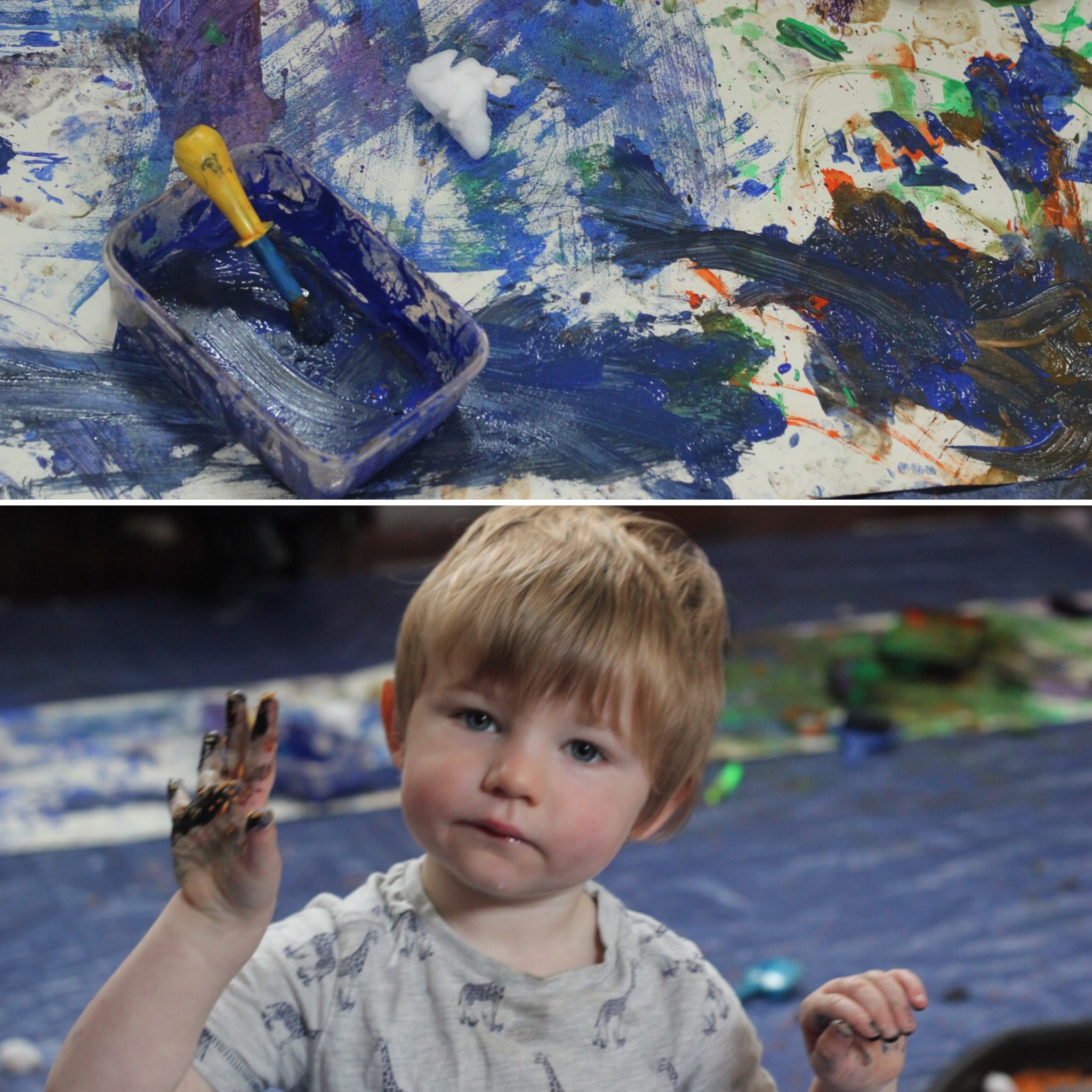 little-learners-preschool-classes-and-parties-a-boy-with-paint-on-his-hands-from-messy-play-mark-making-north-east-newcastle-north-tyneside